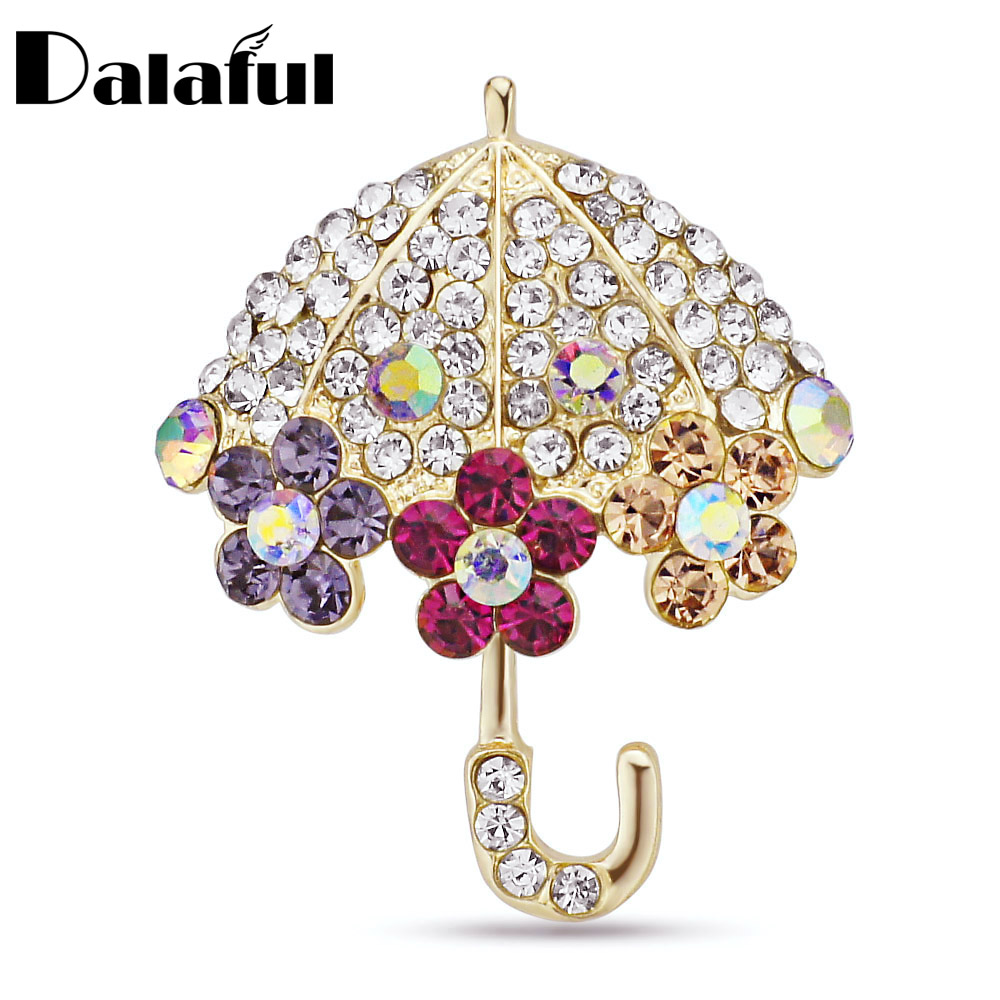 Dalaful Crystal Umbrella Brooch Decorative Accessories Wedding Bridal Jewelry Flower Brooch Pin Z027
