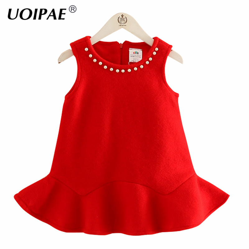 UOIPAE Party Dress Girls 2018 Autumn Fashion Beads Kids Dresses For Girls Lotus Leaf Sleeveless Zipper Children Clothing B0749 uoipae party dress girls 2018 autumn