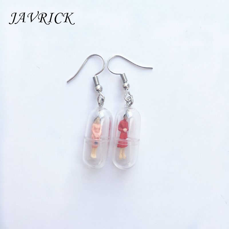 1 Pair Creative Transparent Capsule Mini Man Candy Earrings Vintage Style Minimalism Concise Design Female Ear Pins Jewelry Gift