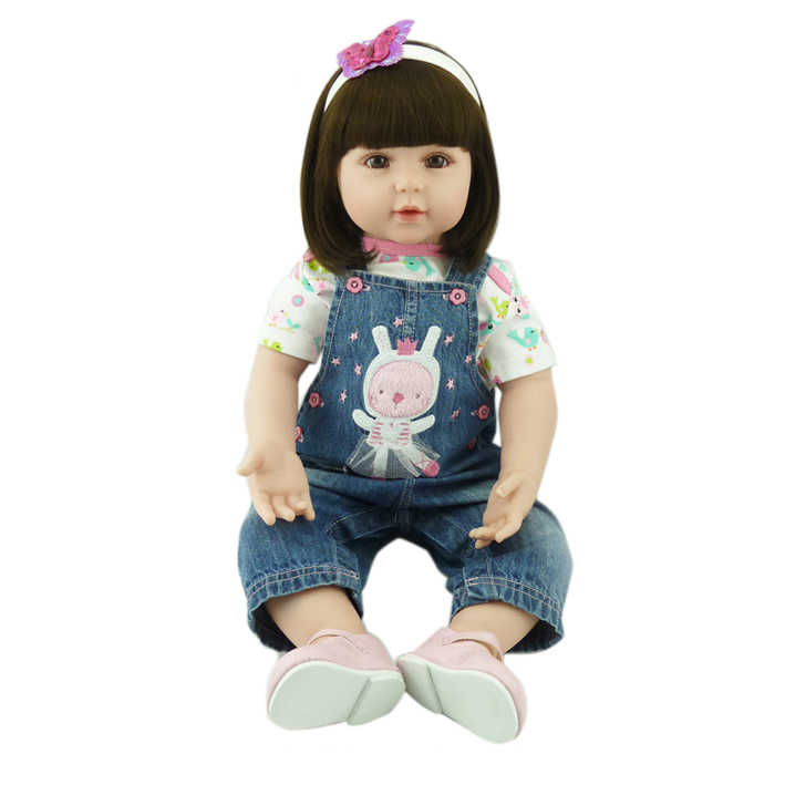 Handmade New Model Soft Vinyl Silicone Reborn Toddler Princess Girl Baby Alive Doll Toys with Strap Denim Skirts Birthday Gifts adorable soft cloth body silicone reborn toddler princess girl baby alive doll toys with strap denim skirts pink headband dolls
