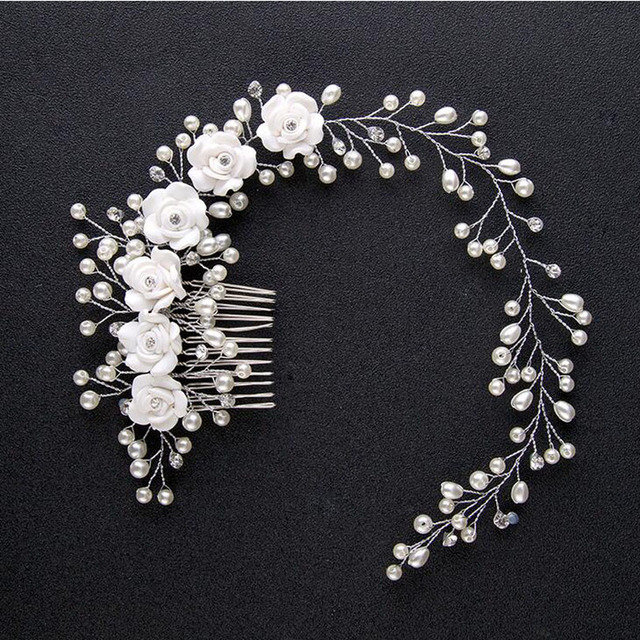 Hot Sale Bride Handmade Pearl Flower Hair Combs Wedding Hair Accessories Headband Tiara Bridal Hair Jewelry 2017 New Hairwear