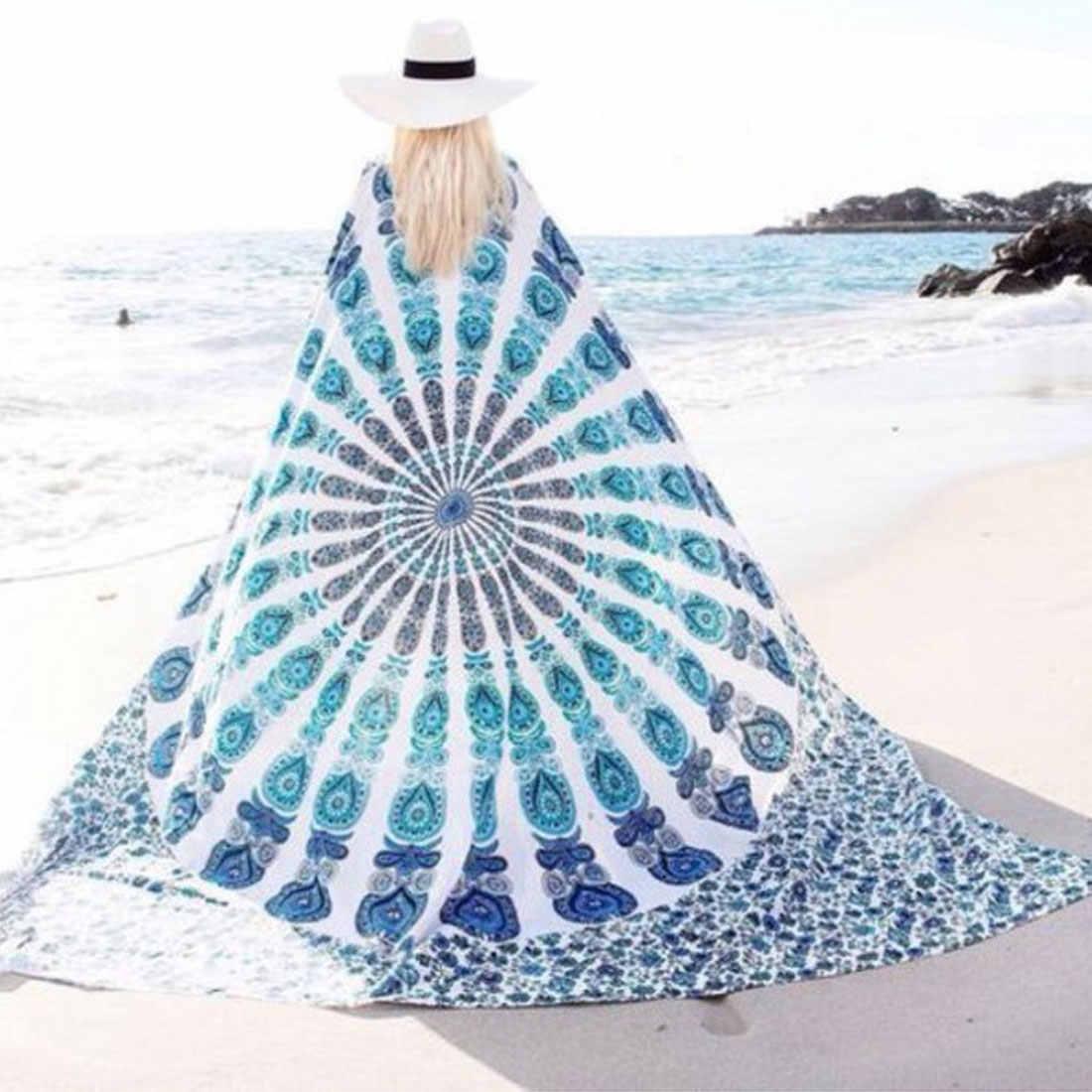 1 Pc النساء حمام شمس اللباس منشفة استحمام الصيف حمام شمس جولة مناشف الشاطئ البوهيمي نمط طباعة بطانية اليوغا حصيرة