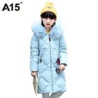 A15 Winter Down Jacket for Girls Teenager 2017 Kids Clothes Girls Down Coat Children Warm Toddler Long Black Large Fur Hooded 10
