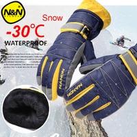 NANDN Winter Warm Mountain Snowboard Ski Gloves Men Women Cold Snow Skiing Mittens Waterproof Snowmobile Handschoemen