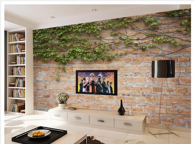 Behang In Badkamer : Green leaf vine rotan tv wanddecoratie behang badkamer woondecoratie