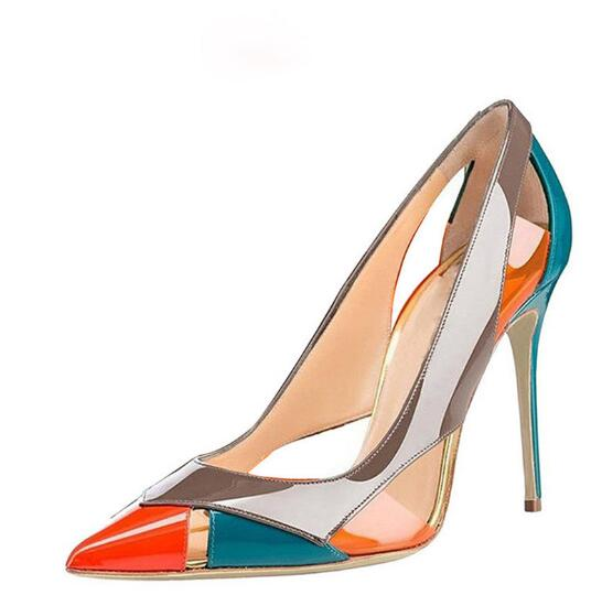 2019 Popular Hollow Shallow Party Shoes Pointed Toe Slip-on Fashion Woman pumps High Thin Heels color matching Big Size 45 2019 Popular Hollow Shallow Party Shoes Pointed Toe Slip-on Fashion Woman pumps High Thin Heels color matching Big Size 45