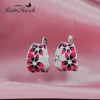 RainMarch Silber Emaille Blume Ohrringe Für Frauen Engagement 100% 925 Sterling Silber Ohrring Handgefertigten Emaille Partei Schmuck