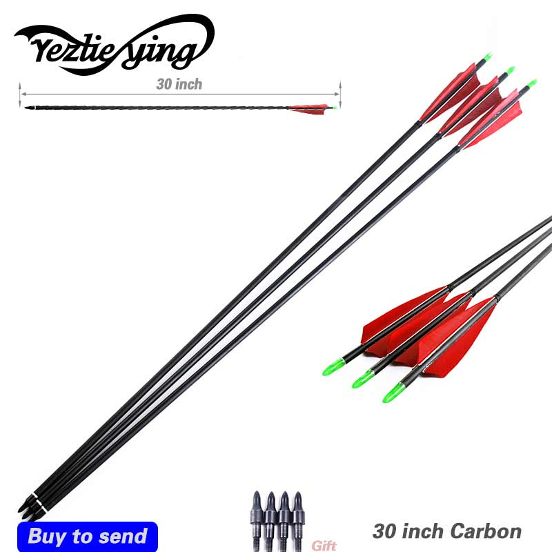 3pcs 30 Spine 500 Carbon Arrow replace Arrows head For Compound Bow Hunting Shooting Target Practice Suitable For Beginners