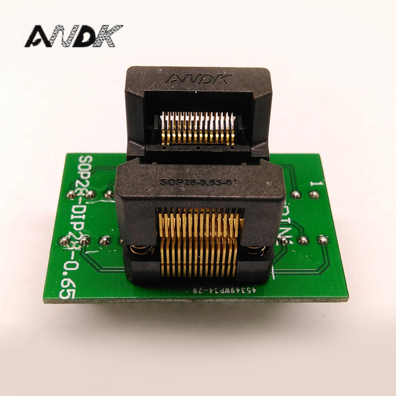 SSOP28 TSSOP28 to DIP28 Programming Socket Pitch 0.65mm IC Body Width 4.4mm 173mil OTS-28-0.65-01 Flash Test Socket Adapter importing ic block adapter tsop56 ots 56 0 5 01 test writers adapter