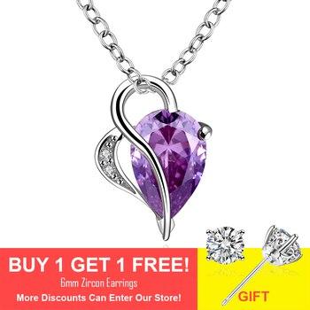 Bohemia Fashion woman purple crystal pendant  Couple love statement necklace  wedding party dress heart pendant necklace