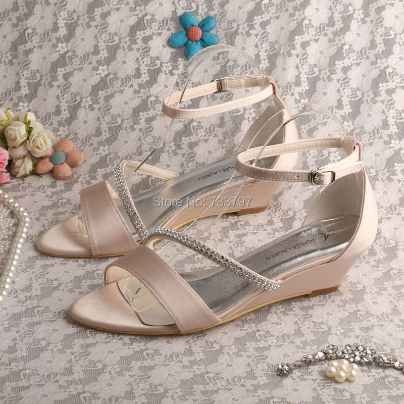 Wedopus MW548 Nude Party Sandals Wedge Heel Wedding Bridal Sandals Wedding