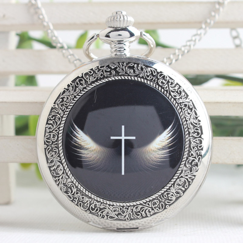 Vintage Angel Wings Cross Pocket Watch Mens With Fob Chain Gift God's Angels Cross Wings Quartz Women Watch PB625 otoky montre pocket watch women vintage retro quartz watch men fashion chain necklace pendant fob watches reloj 20 gift 1pc