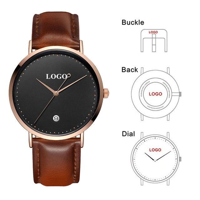 CL026  Black Rose Gold Build Brand Your Own Watch Custom Design OEM Logo Printed Watch Men Wrist Calendar Minimalist Watch