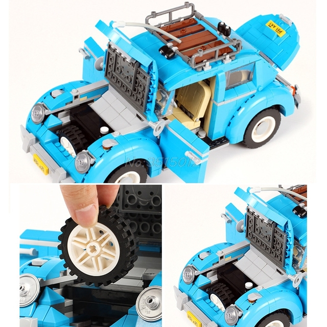Creator Retro car Toy Legoing Technic Series Cooper T1 Camper Van Light Set Compatible Legoing Car Blocks Kids Toys For Children 5