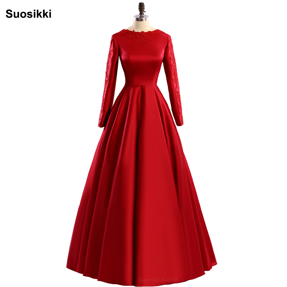 Red evening dress long sleeve muslim formal evening prom party ...