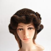 fashion mink fur knitted women winter 3 colors genuine mink fur bucket hat  ruffle hem with flowers