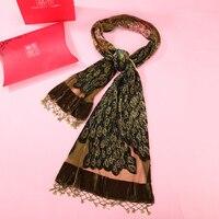 New Style Green Shawl Velvet Silk Pashmina Scarf Embroidery Mantilla With Tassels Peacock Beaded Shawls Hijabs Soft Muffler