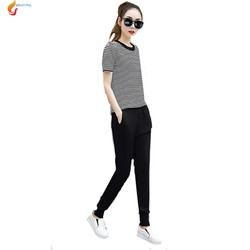 jqnzhnl 2017 summer fashion 2 pcs sets women sporting suit casual sportswear suits plus size.jpg 250x250