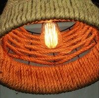 Диаметр 38 см Nordico Ретро подвесные светильники Американская страна промышленный свет Лофт подвесной светильник пеньковая веревка светильни