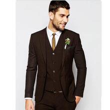 db9a785e02fbb Yeni erkek takım elbise en iyi erkek yaka damat elbise koyu kahverengi erkek  en uygun düğün suit özel (ceket + pantolon + yelek,.