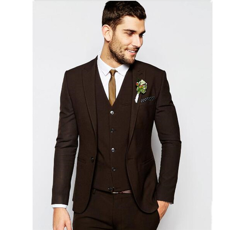 New men suit best man lapel groom dress dark brown men the most suitable wedding suit custom(jacket + pants + vest, tie)
