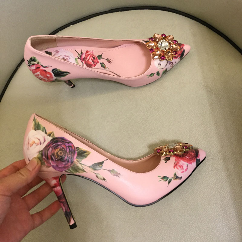 New fashion pointed toe flower printed leather high heels woman shoes 2018 sexy crystal embellished thin heels pumps summer bling thin heels pumps pointed toe fashion sexy high heels boots 2016 new big size 41 42 43 pumps 20161217