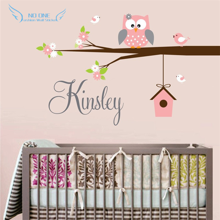 Us 15 99 20 Off Personalized Name Owl Wall Decal With Birds Birdhouse Children Nursery Decals Vinyl Lettering Art For Kids Room Decor In