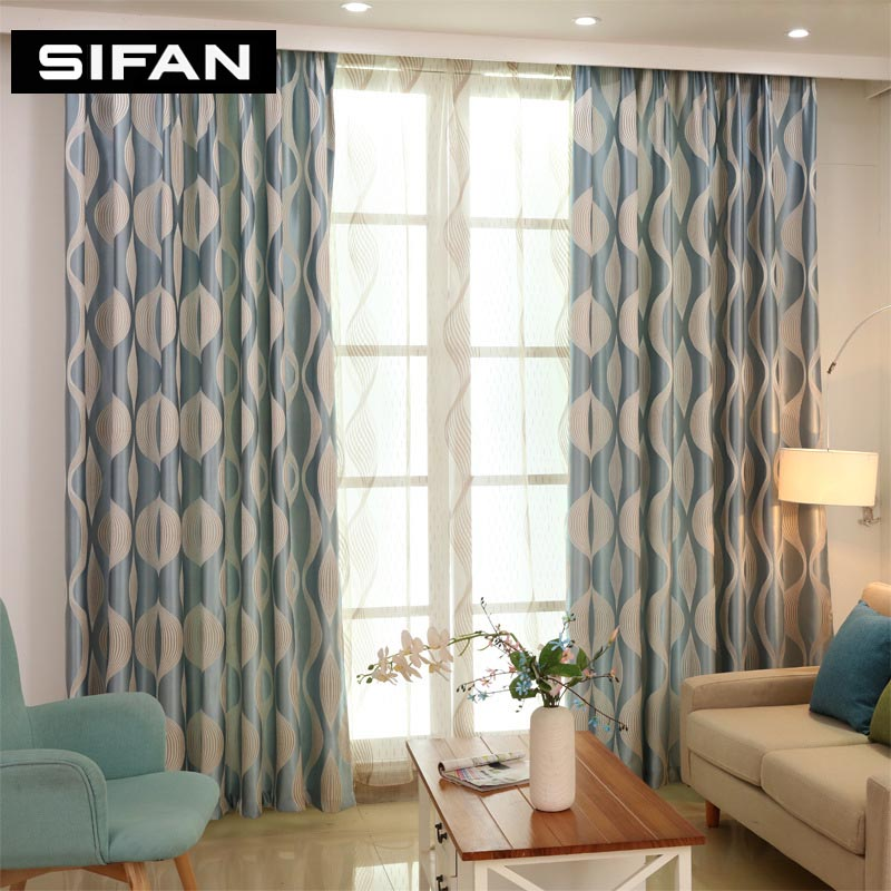 New Blue Wave Geometric Window Curtains For The Bedroom