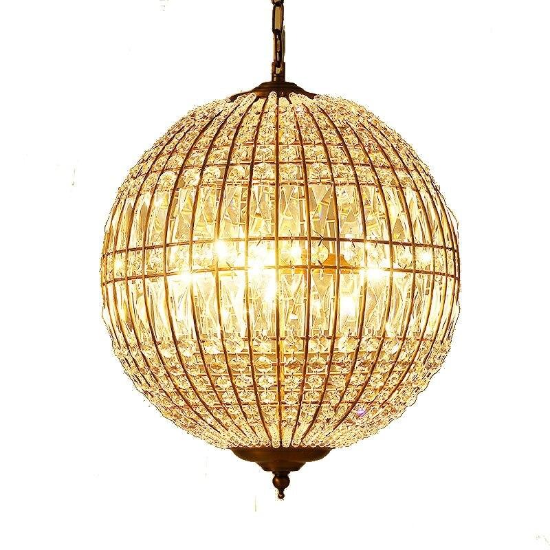 Vintage In Ferro Battuto Droplight Oro Rotonda di Cristallo della Sfera del Globo Cestino Luce Del Pendente Del LED Per Sala Da Pranzo Dell'hotel di Illuminazione - 5