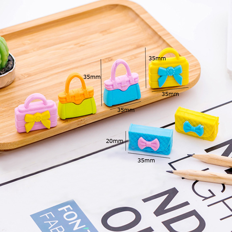 36pcs lot Lovely Ladies Handbag Eraser 3D Simulation Mini Eraser student Fashion gift Stationery Wholesale in Eraser from Office School Supplies
