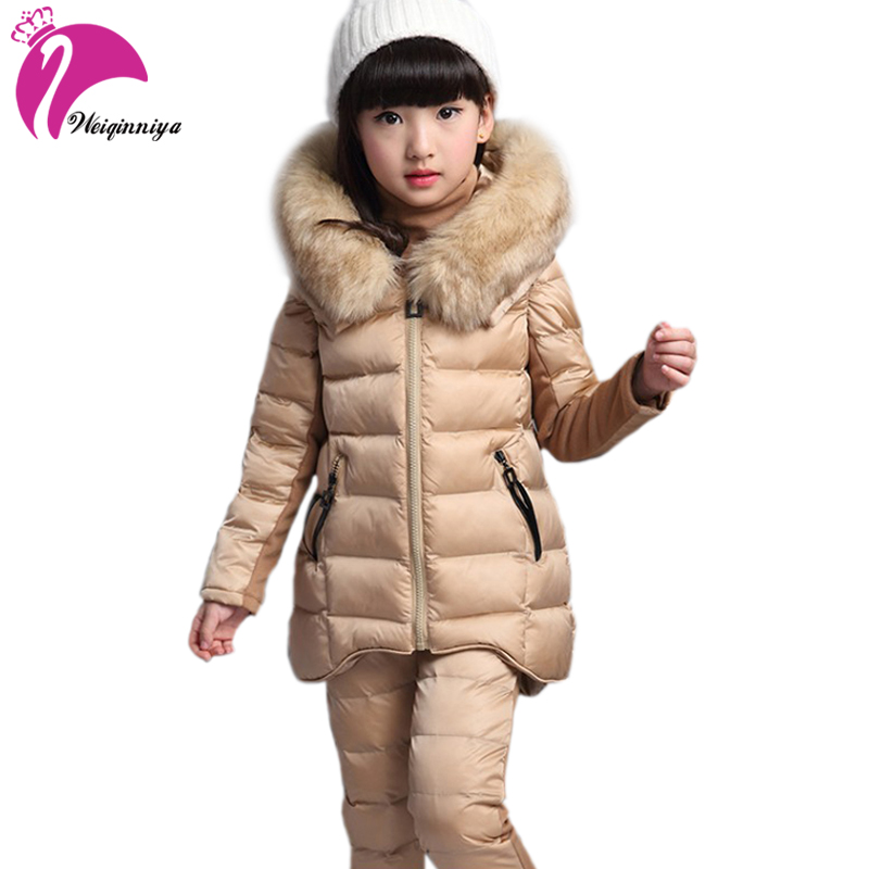 Girls Sports Suit Winter Kids Long Sleeve Down Parkas Set With Fur Hood Toddler Girl Clothing Set 3 Pieces Warm Thick Suits Hot 2017 new boys clothing set camouflage 3 9t boy sports suits kids clothes suit cotton boys tracksuit teenage costume long sleeve
