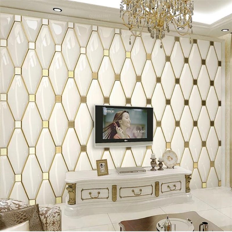 Beibehang Custom Wallpaper 3d Murals Luxury Simple European Gold Soft Package TV Background Wall Papers Home Decor Papier Peint