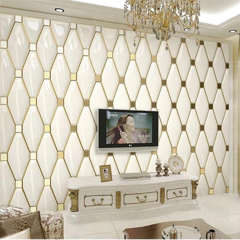 Beibehang Custom Wallpaper 3d Murals Luxury Simple European Gold Soft Package TV Background Wall Papers Home Decor Papier Peint