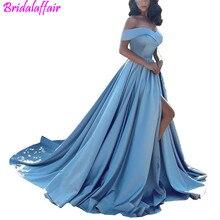 Modern Evening Dress Arabic Light Blue Prom Dresses 2018 African Elegant Formal Gown Off The Shoulders Front Split Gowns