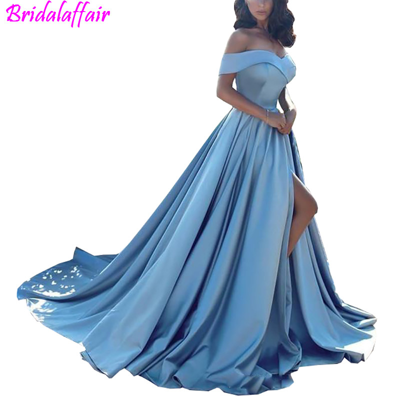 Modern Evening   Dress   Arabic Light Blue   Prom     Dresses   2018 African Elegant Formal Gown Off The Shoulders Front Split   Prom   Gowns