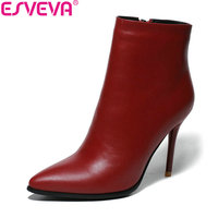 ESVEVA 2019 Women Boots Sexy Thin High Heels Zipper Shoes Cow Leather PU Ankle Boots Pointed Toe Autumn Shoes Boots Size 34 39