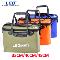 LEO High Quality EVA Bucket 35CM 40CM 45CM Length Carp Fishing Foldable Bag Bucket Outdoor Fishing Water Tank With Belt