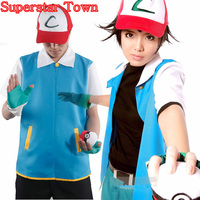 Pocket Cosplay Monster Ash Ketchum Trainer Costume Jacket Gloves Hat Ball Japan Anime Halloween Party Wear