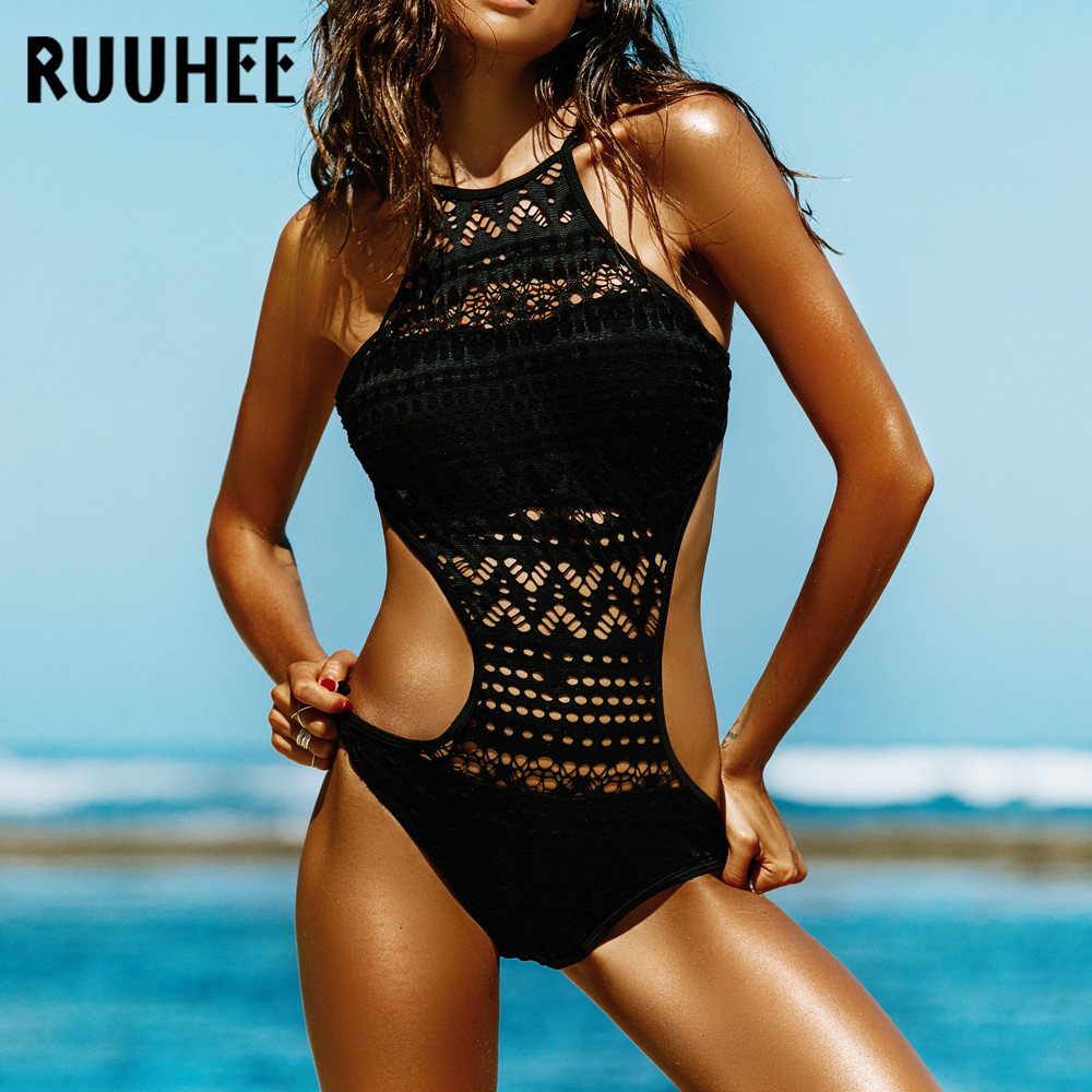 RUUHEE Swimwear Women One Piece Swimsuit 2018 Bodysuit Sexy Mesh Bathing Suit Swimming Suit Monokini Maillot De Bain Bikini bandage swimsuit black swimwear women 2018 monokini trikini one piece swimsuit strappy bathing swimming suit maillot de bain