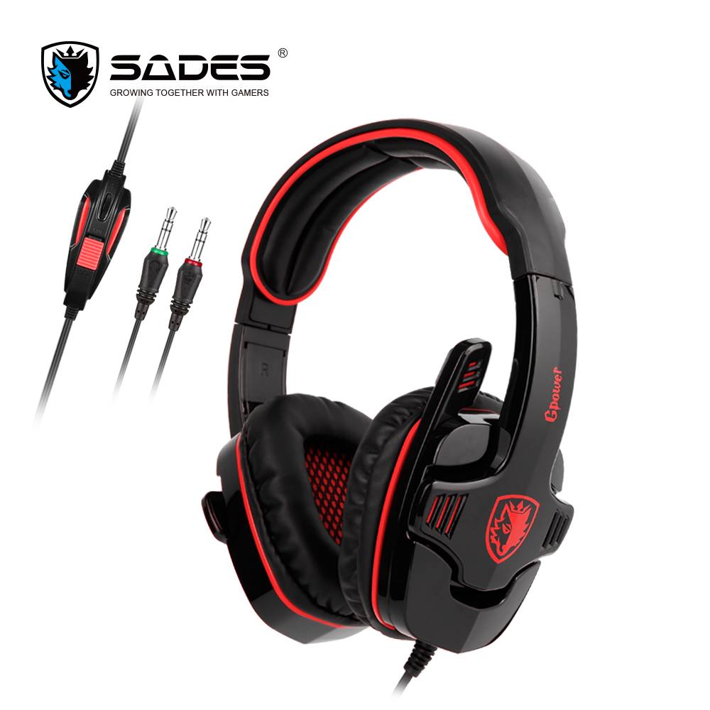 SADES GPOWER Gaming Headset 3.5mm Gamer Headphones Stereo Sound omnidirectional Mic For PC sades 3 in 1 pro gaming headset 7 1 surround sound stereo headphones earphones casque with mic professional gamer gaming gift