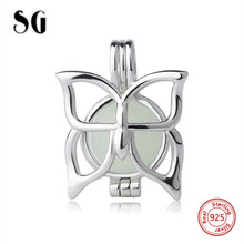 SG 2019 Lovely butterfly glowing luminous beads 925 Silver Charms Fit pandora Bracelet Jewelry making for Valentines Day gifts
