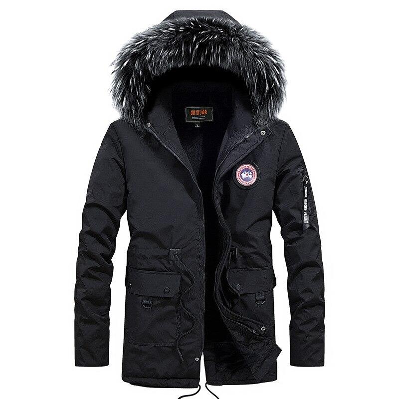 Winter Jacket Men Thicken Warm Men   Parkas   New Fashion Hooded Coat Fleece Male Slim Fit Mid-Long Jackets Outwear Windproof   Parka