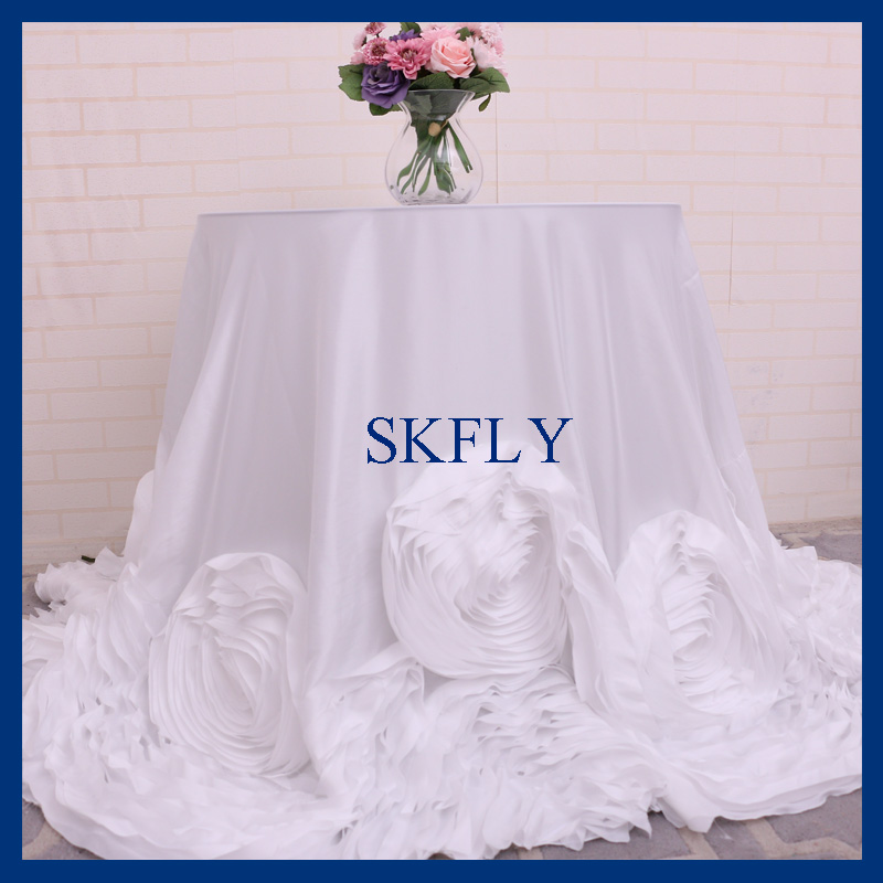 CL052D free shipping fancy custom made wedding fancy 108 round round white rosette table cloth