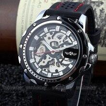 Nueva Moda Reloj de Pulsera Mecánico Automático de cuerda Automática hombres Gear Negro Rubber Band Esqueleto Fresco M105
