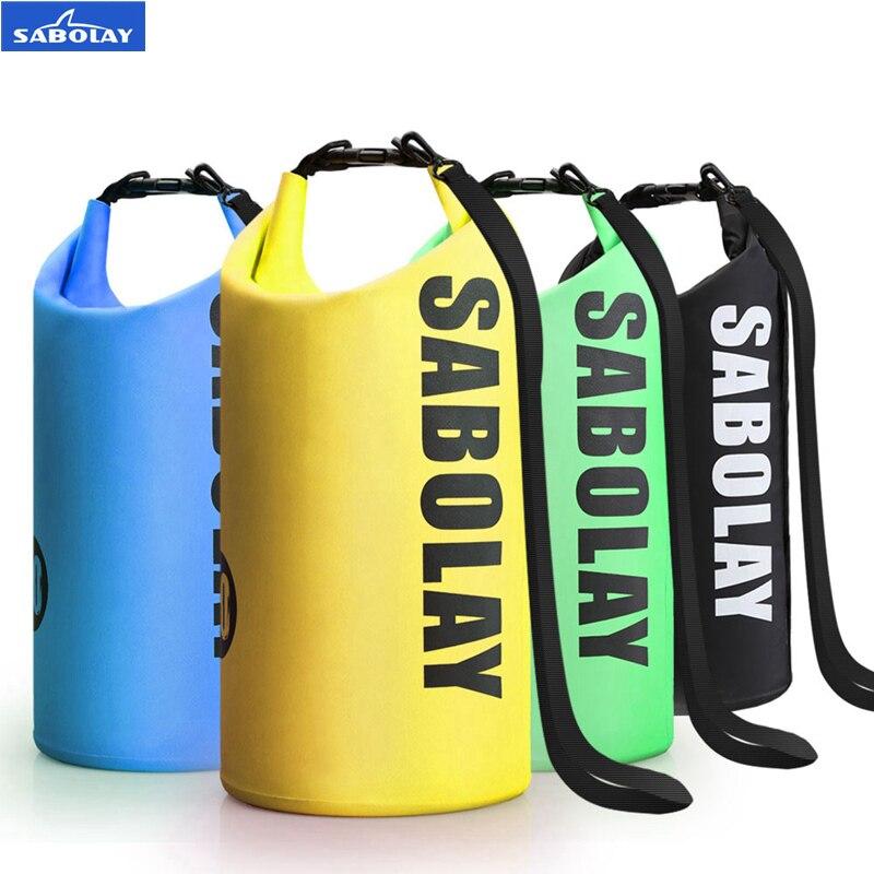 SABOLAY PVC Saco Seco Impermeável Saco De Armazenamento Ao Ar Livre Rafting Caiaque Canoagem Esportes praia de Areia Natação Bolsa de Viagem Kits 10L