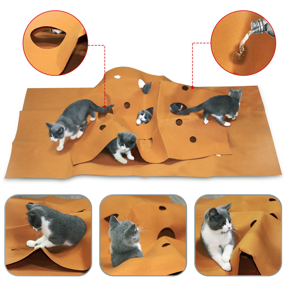 120*90*3cm Scratch Resistant Cat Toy Blanket Play Mat Pet Hide Seek Carpet Kitten Cat Interactive Tunnels Toy