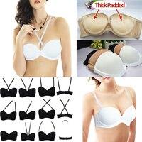 Ladies Secret Nude Black White Self Adhesive Magic Smooth Push Up Bra Halter Strapless Bras Seamless