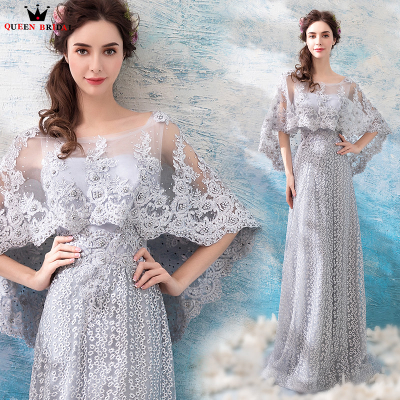 A-line Lace Pearls Cape Long Formal Elegant Gray Evening Dresses ...