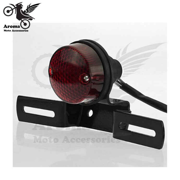 Retro Red Lighting Round Motorcycle Rear Tail Light With Bracket Motorbike Frame Moto Brake Light Unvieral License Plate Holder