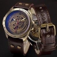 スチームパンクスケルトン電源自動機械式時計メンズブロンズアンティークレザー自己widing腕時計時計男性腕時計
